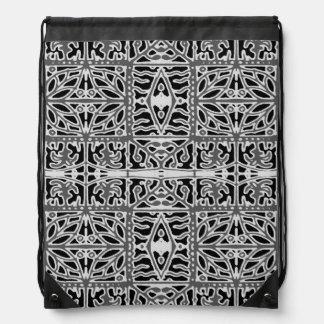 Dark Oriental Ornate Pattern Drawstring Bag