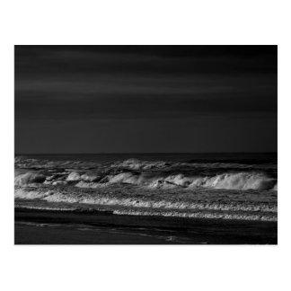 Dark Pacific Ocean Waves in Monochrome Postcard