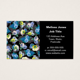 Dark pansies elegant flower print business card