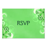 "Dark Pastel Green Floral RSVP Response Cards 3.5"" X 5"" Invitation Card"