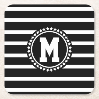 Dark Patriot Monogrammed Square Paper Coaster