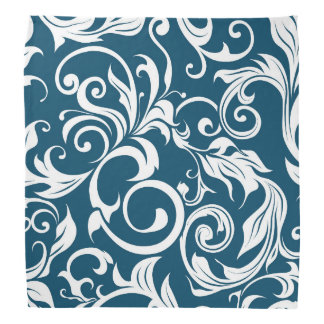Dark Peacock Blue Floral Wallpaper Pattern Bandana