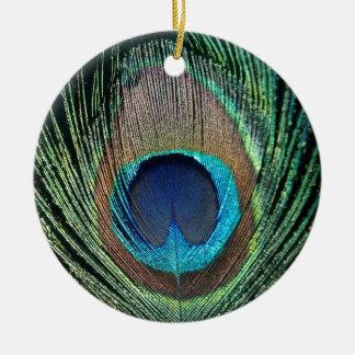 Dark Peacock Feather Ceramic Ornament