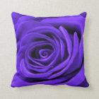 Dark Periwinkle Rose Throw Pillow