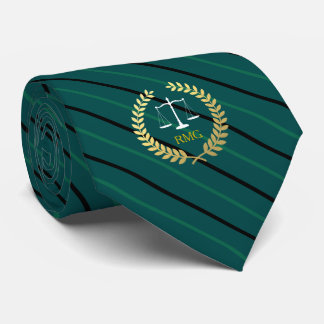 Dark Pine Green Striped Custom Initials Lawyer Tie
