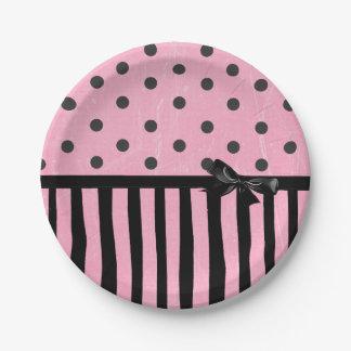 Dark Pink and Black Polka Dot Striped  Paper Plate