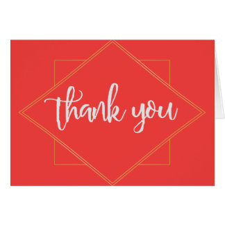 Dark Pink and Gold Geometric Thank you Card
