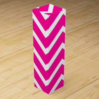Dark Pink and White Chevron Stripes Wine Box