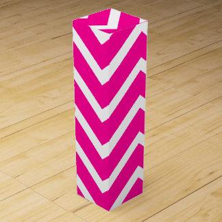 Dark Pink and White Chevron Stripes Wine Boxes
