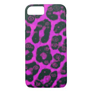 Dark Pink Black Painted Cheetah iPhone 7 Case