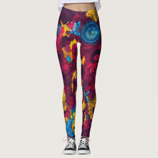 Dark Pink Blue Yellow Abstract Design Leggings