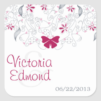 Dark Pink Butterfly Whimsy Wedding Stickers