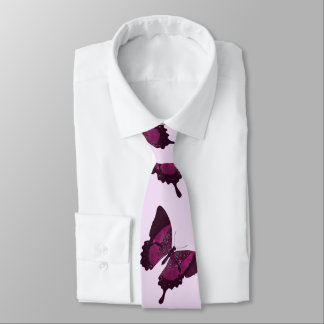 Dark pink butterfly with light pink backround tie