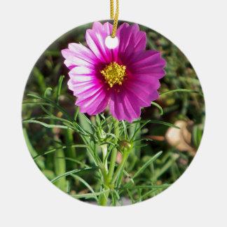 Dark pink Cosmos daisy flower Ceramic Ornament