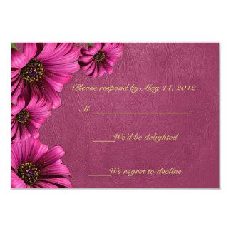Dark Pink Daisy Leather RSVP Cards