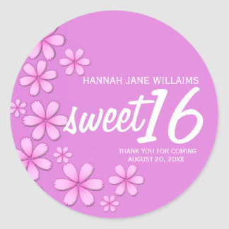 Dark Pink Daisy Personalized Sweet 16 Sticker Seal