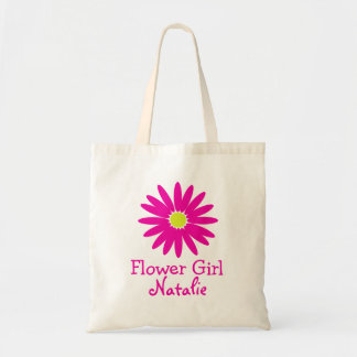 Dark Pink Daisy with Customizable Text Budget Tote Bag