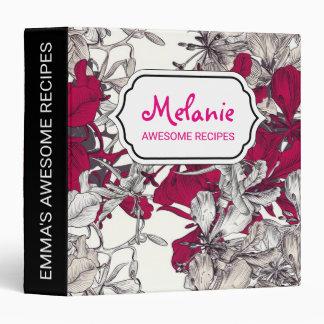 Dark pink drawn artistic floral pattern binder