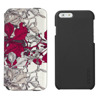Dark pink drawn artistic floral pattern incipio watson™ iPhone 6 wallet case