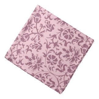 Dark Pink Floral Damask on Pink Kerchief