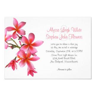 Dark Pink Floral Horizontal Plumeria Wedding Card