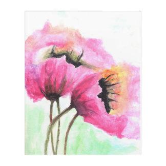 Dark pink flowers hand-painted acrylic print