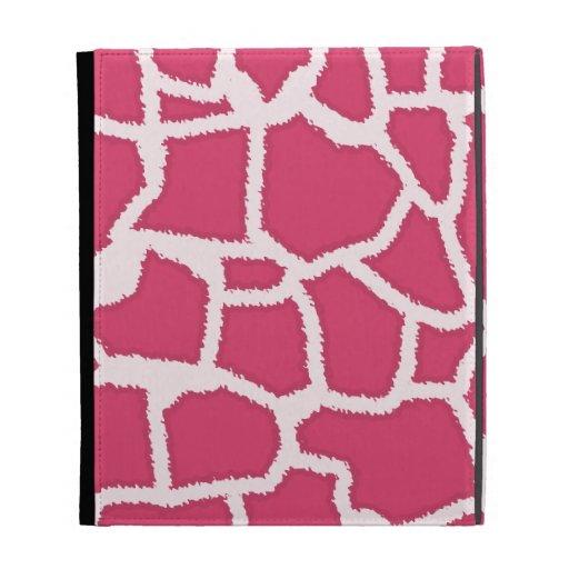 Dark Pink Giraffe Animal Print iPad Folio Cases