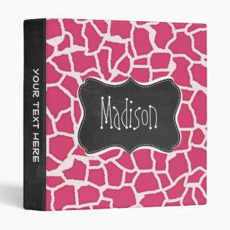 Dark Pink Giraffe Animal Print; Chalkboard Binders