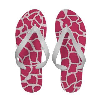 Dark Pink Giraffe Animal Print Flip-Flops