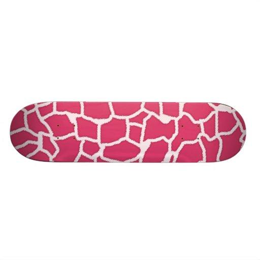 Dark Pink Giraffe Animal Print Skate Decks