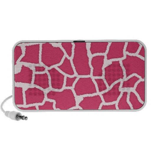 Dark Pink Giraffe Animal Print Mini Speakers