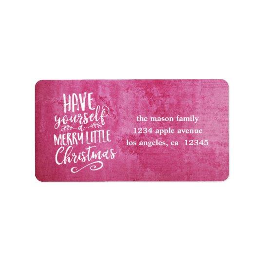 Dark Pink Grunge Merry Little Christmas Script Label