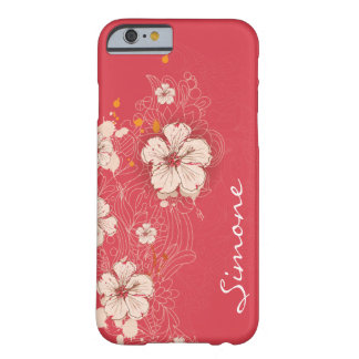 Dark Pink Ivory Abstract Floral Monogram iPhone 6  Barely There iPhone 6 Case