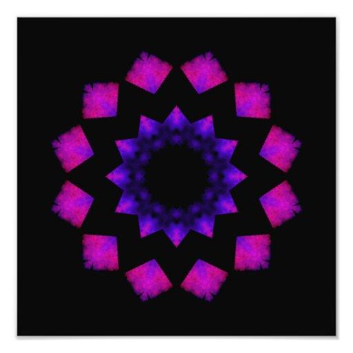 Dark Pink Kaleidoscope Mandala Photographic Print
