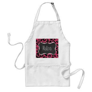 Dark Pink Leopard Animal Print; Chalk look Standard Apron