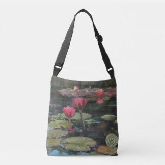 Dark Pink Lily Cross-Over Bag—Medium Crossbody Bag