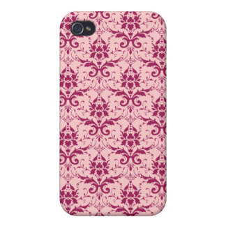 Dark Pink Mauve Damask Pattern iPhone 4 Cover