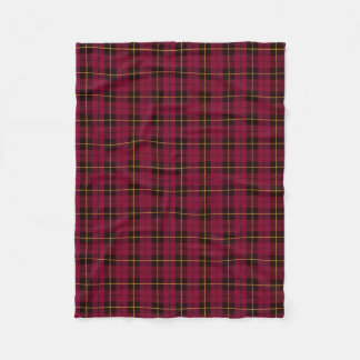 Dark pink plaid black/yellow/gold fleece blanket