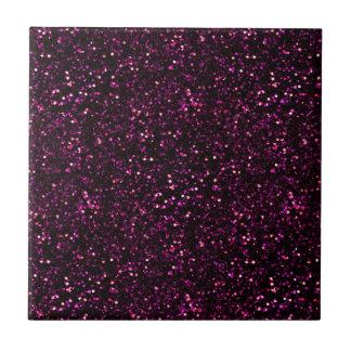 Dark Pink Posh Glitter Ceramic Tile