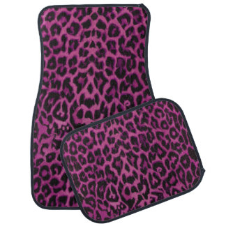 Dark Pink Purple Leopard Animal Print Car Mats