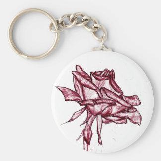 Dark Pink Rose Sketch Basic Round Button Keychain