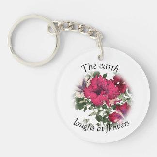 Dark pink ruffled petunias keychain