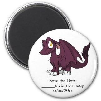 Dark Pink SD Furry Dragon Save the Date 2 Inch Round Magnet
