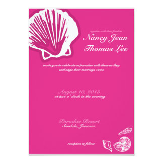 Dark Pink Shells Wedding Invitation