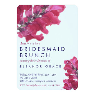 Dark Pink Snapdragon Floral Bridal Shower Invite
