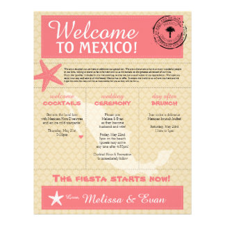 Dark Pink Starfish Cabo Mexico Welcome Letter Letterhead