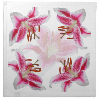 Dark Pink Stargazer Lily Cloth Napkins