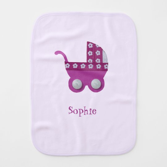 Dark pink stroller baby girl shower burp cloth