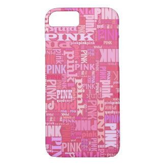 Dark pink text pattern for pink lovers iPhone 7 case