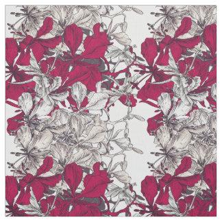 Dark pink vintage artistic floral pattern fabric